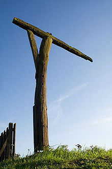 Reconstruction of a Gallows-Style Gibbet at Caxton Gibbet in Cambridgeshire, England