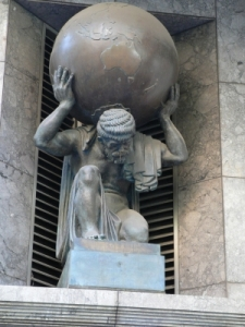 Altas Sculpture on a building on Collins Street, Melbourne