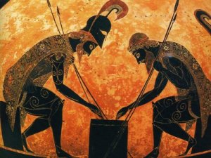 Achilles and Ajax Playing Dice, 6th Century BCE Greecian Pottery