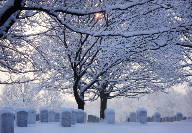 cemetary and snow