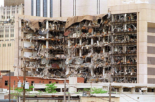 Alfred P Murrah Federal Building after it was bombed in Oklahoma City April 19, 1995