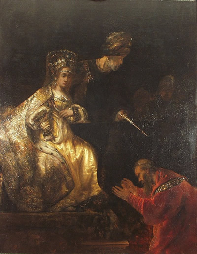 Rembrandt Harmenszoon van Rijn- Haman Begging the Mercy of Esther