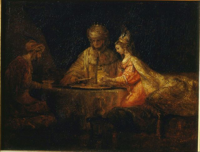 Rembrandt Harmensz van Rinj- Ahasuerus, Haman and Esther at the Feast of Esther
