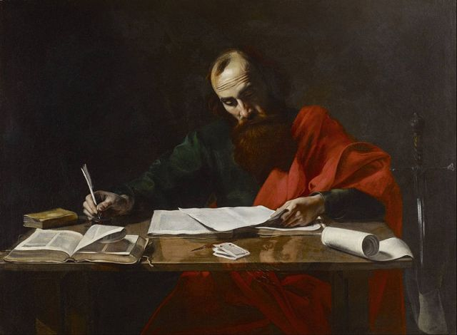 St. Paul Writing His Epistles probably by Valentin de Boulogne (1618-1620)