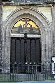 The Door of the Castle Church in Wittenburg where Martin Luther posted the 95 Theses. The Theses are now engraved in the metal doors.