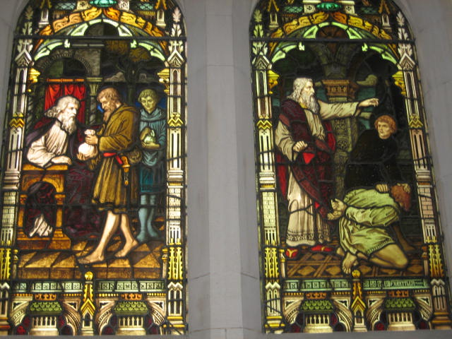 Depiction of the Parable of the Unmerciful Servant, Scot's Church Melbourne