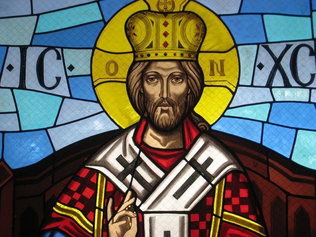 Stained Glass window at the Melkite Catholic Annunciation Cathedral in Roslindale, MA depicting Christ the King with the regalia of a Byzantine Emperor