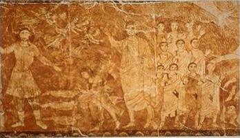 Ezekiel's Vision: Resurrection of the Dead, Synagogue interior wood panel Dura Europos, Syria