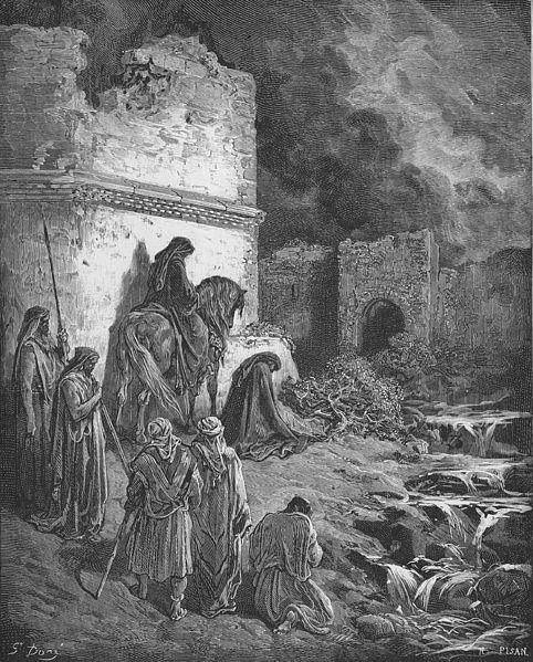Nehemiah View the Ruins of jerusalem's Walls, Gustav Dore 1866