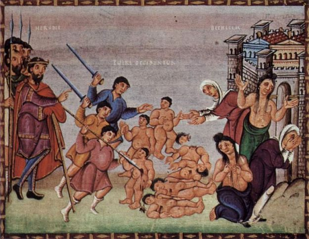 Codex Egberti, Folio 15, scene: Bethlehemitscher Kindermord