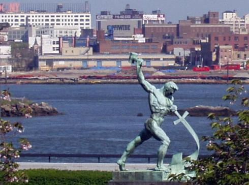 Let us Beat Swords Into Plowshares, a sculpture by Evgeniy Vuchetich, given by the Soviet Union to the United Nations in 1959