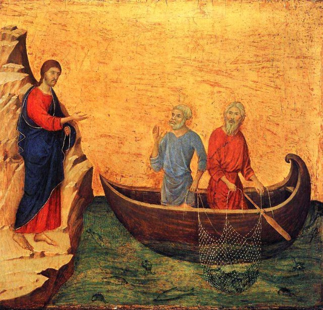 Calling of Peter and Andrew, Duccio di Buonisegna (1308-1311)