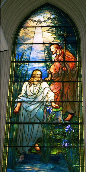 Louis Comfort Tiffany, The Baptism of Christ, Stained Glass Window at Brown Memorial Presbyterian Church, Baltimore