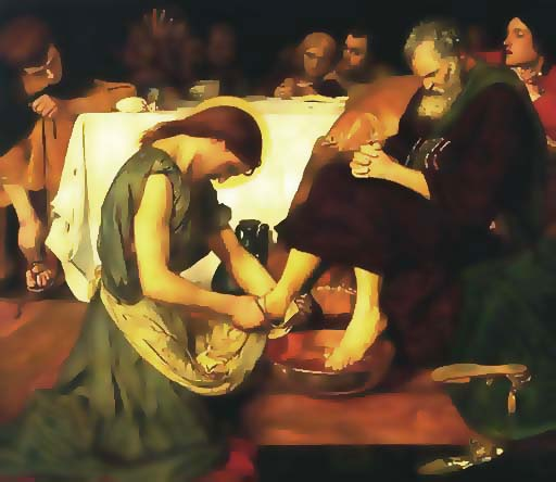 Jesus Washing Peter's Feet (www.artbible.net/home/Accueil/-Joh-13,01_The feetwashing_Le lavement des pieds/19 Brown Jessus Washing Peter s Feet lon)