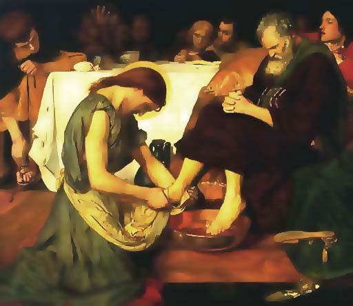 Jesus Washing Peter's Feet (www.artbible.net/home/Accueil/-Joh-13,01_The feetwashing_Le lavement des pieds/19 Brown Jessus Washing Peter s Feet lon)