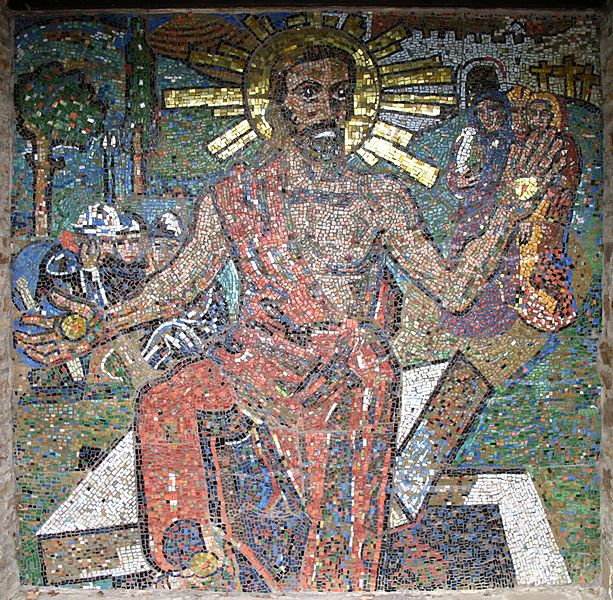 Mosaic of the Risen Christ at the World War I memorial cemetary Kreuzeringarten, Germany