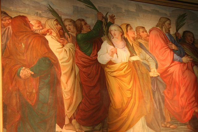 Fresco in the Parish Church of Zirl, Austria of Jesus entering Jerusalem on Palm Sunday