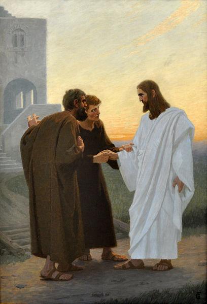 Gebhard Fugel, Jesus und der Gang nach Emmaus, turn of the 20th century, copyright holder released to public domain
