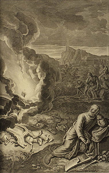A Deep Sleep Came Upon Abraham and a Horror Siezed Him, as in Genesis 15: 12 from 1728 Figures de la Bible illustrated by Gerard Hoet (1648-1733)