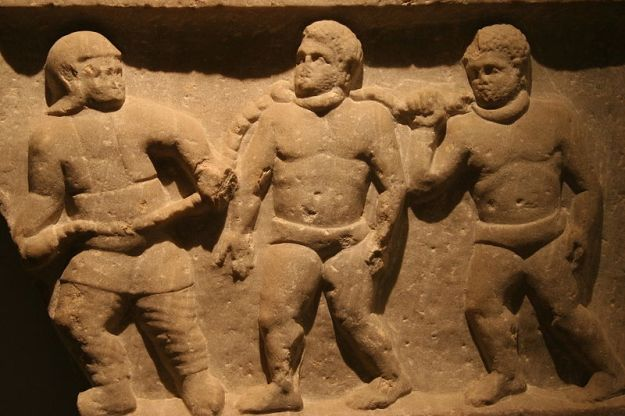 Roman collared slaves-Marble relief from Smyrna (Izmir, Turkey), 200 CE