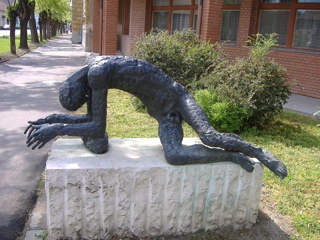 Jozsef Somogyi's statue of the Tired Man in Mako, Hungary