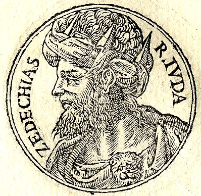 "Zedekiah, last King of Judah before the destruction of the kingdom by Babylon, ""Promptuarii Iconum Insigniorum"" published by Guillaume Rouille (1518-1589)"