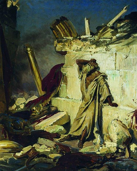Cry Of Prophet Jeremiah on the Ruins of Jerusalem by Ilya Repin 1870