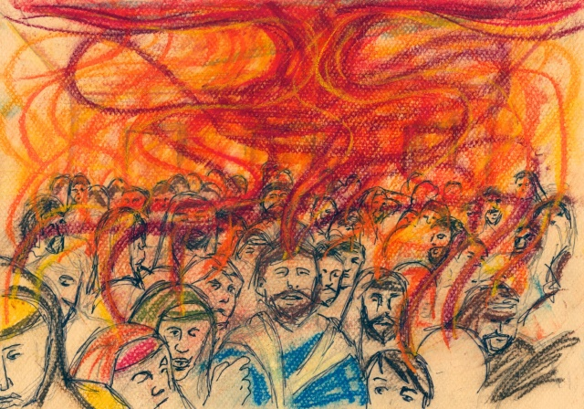 When the Day of Pentecost Came, Mark A Hewitt, Pastel and pen http://oldtractortinshed.net/?tag=pentecost