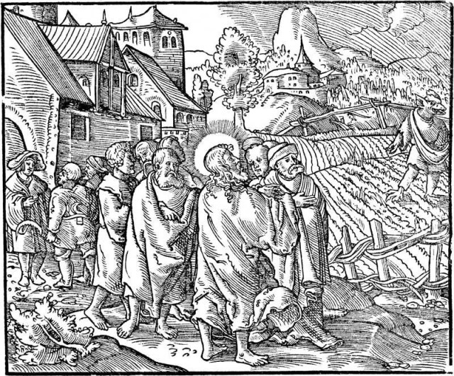 Illustration from Martin Luther's time comparing the devil sowing seeds in the field to the sale of indulgences
