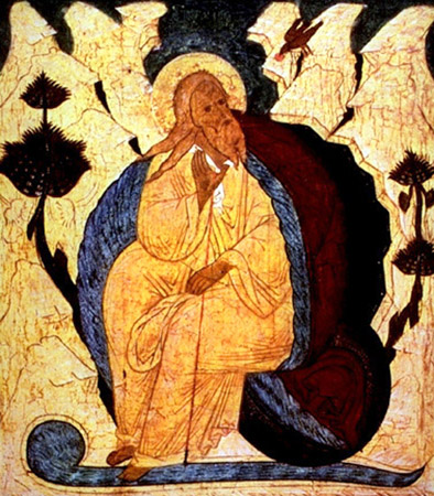 Russian Orthodox Icon, Elijah in the Desert