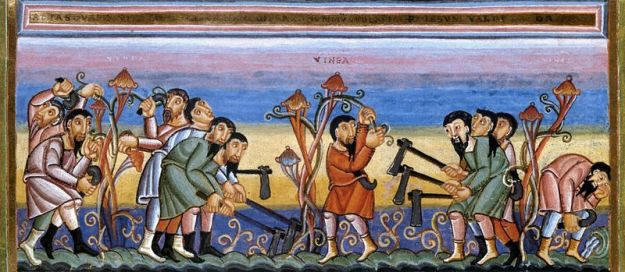 The Parable of the Workers in the Vineyard, Codex Aureus Epternacensis, 11th Century