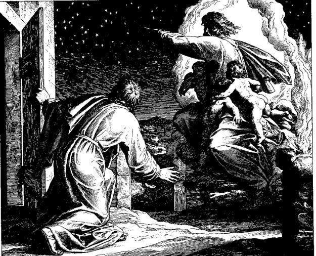 """Julius Schnorr von Carolsfeld woodcut for """"Die Bibel in Bildern"""" (1860) God telling Abraham to Count the Stars"""