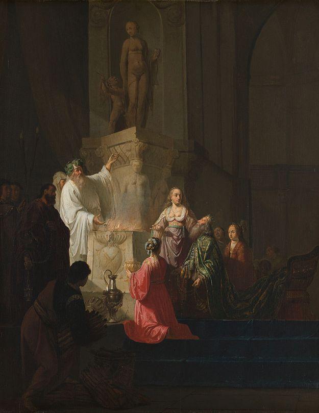Willem de Poorter, 'De afgoderij van konig Solomo'-Solomon's decent into idolatry (between 1630 and 1648)
