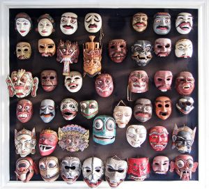 Various Balinese Topeng Masks, Photo by Gunawan Kartapranata shared under Creative Commons Attribution- Share Alike 3.0