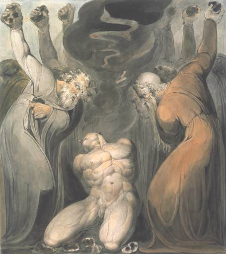 The Blasphemer, as in Leviticus 24: 13-23, by William Blake circa 1800