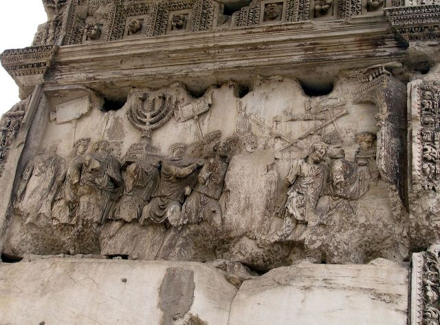 Section of the Arch of Titus showing the Spoils of Jerusalem