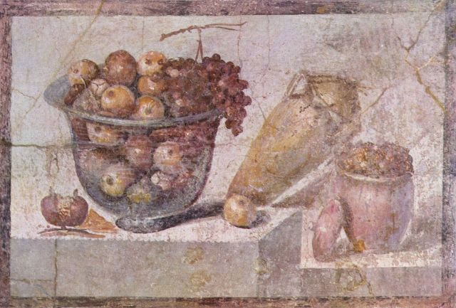 Still Life with Glass Bowl of Fruit and Vases from the House of Julia Felix in Pompeii around 70 CE