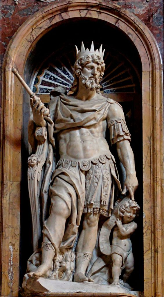 Statue of David by Nicolar Cordier in the Borghese Chapel of  the Basilica di Santa Maria Maggiore